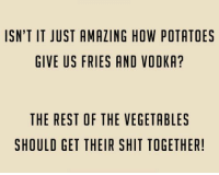 Dank, Shit, and Vodka: ISN'T IT JUST AMAZING HOW POTATOES  GIVE US FRIES AND VODKA?  THE REST OF THE VEGETABLES  SHOULD GET THEIR SHIT TOGETHER!