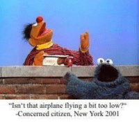 "New York, Airplane, and Citizen: ""Isn't that airplane flying a bit too low?""  -Concerned citizen, New York 2001"