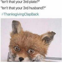 """Thanksgiving, Thanksgiving Clap Back, and Girl Memes: """"Isn't that your 3rd plate?""""  """"sn't that your 3rd husband?""""  #Thanksgiving ClapBack thanksgivingclapback ( @meangirlsonabreak )"""