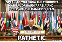 America, Memes, and Capital: ISPEAK TO YOU FROM THE TERRORIST  CAPITAL OF SAUDI ARABIA AND RDO.  ITELLYOU THE DANGER ISIRAN  UNITED STATES OF AMERICA  PATHETIC  DAVIDICKE.COM #Saudis Aid #US Combat Terrorism, Says #Trump http://ow.ly/WQcW30mho5F