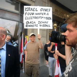 Food, Memes, and Israel: ISRAEL GIVES  FOOD WATER &  ELECTRICITY TOGAZA  GAZA SENDS  ROCKETS TO ISRAEL This guy pretty much sums it up...