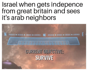 Memes, History, and Israel: Israel when gets indepence  from great britain and sees  it's arab neighbors  E  CURRENT OBJECTIVE:  SURVIVE Israel memes