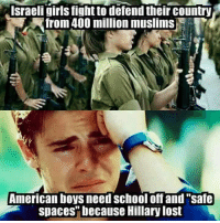 "Fighting Memes: Israeli girls fight to defend their country  Afrom 400 million muslims  American boys need School off and ""safe  spaces"" because Hillary lost"