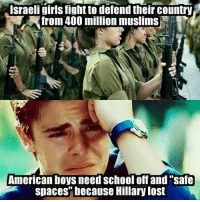 """Memes, Space, and Israeli: Israeli girls fightto defend their country  from 400 million muslims  American boys need School off and """"safe  spaces"""" because Hillary lost Whiney bitches -L BTW make sure you've liked our page Women, Weapons Warfare II"""