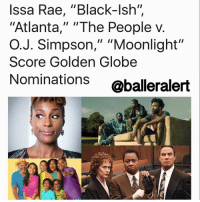 "Anthony Anderson, Denzel Washington, and Donald Glover: Issa Rae, ""Black-Ish""  ""Atlanta,"" ""The People v  O. J. Simpson,"" ""Moonlight""  Score Golden Globe  Nominations  @balleralert Issa Rae, ""Black-Ish"", ""Atlanta,"" ""The People v. O.J. Simpson,"" ""Moonlight"" Score Golden Globe Nominations -blogged by @eleven8 - ⠀⠀⠀⠀⠀⠀⠀ ⠀⠀⠀⠀⠀⠀⠀ 2016 was a great year for black entertainment and a lot of new films and television shows are being honored at the upcoming 2017 GoldenGlobes. ""La La Land"" leads overall nominations with seven, including nods for Emma Stone and Ryan Gosling, director Damien Chazelle, screenplay, score and song. ""Moonlight"" follows with six nominations, including nods for best motion picture, Barry Jenkins for best director, best screenplay and score. ""The People vs. O.J. Simpson"" leads the television categories with five nominations including best limited series or TV movie. ⠀⠀⠀⠀⠀⠀⠀ ⠀⠀⠀⠀⠀⠀⠀ Two of our faves, ""Atlanta"" and ""Blackish,"" were nominated for best television series, musical or comedy. Donald Glover and Anthony Anderson are also nominated for best performance by an actor in a TV series, musical or comedy. Denzel Washington is up for Best Performance by an Actor in the Drama category for his work on ""Fences."" The People v. O.J. Simpson's Courtney B. Vance is up for Best Performance by an Actor in a Limited Series or Motion Picture Made for Television. Our favorite ladies, Issa Rae and Tracee Ellis Ross are both up for best actress in a TV musical-comedy. Kerry Washington is up for Best Supporting Actress in a Limited Series or TV Movie for her role in HBO's ""Confirmation."" It has already been announced that Meryl Streep will be honored with the Cecil B. DeMille Award for lifetime achievement in the film industry. ⠀⠀⠀⠀⠀⠀⠀ ⠀⠀⠀⠀⠀⠀⠀ The Golden Globes are set to air on January 8 and will be hosted by Jimmy Fallon. Will you be tuning in?"