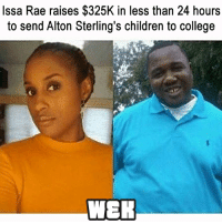 Black Lives Matter, Children, and College: Issa Rae raises $325K in less than 24 hours  to send Alton Sterling's children to college  WER This is so great! So proud of Issa! williamsandkalvin awordoftruth PanAfricanism BlackNationalism BlackEmpowerment AfricanEmpowerment AfricanAndProud BlackAndProud BlackPride BlackPower BlackLivesMatter Amerikkka UnapologeticallyBlack UnapologeticallyAfrican BlackInAmerica BlackIsBeautiful JusticeOrElse ProBlack