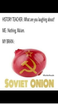 Teacher, Brain, and Onion: ISTORY TEACHER.:What areyou laughing about  ME:Nothing Maam  MY BRAIN  eBurdenWounds  SOVIET ONION Such a disgrace