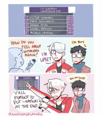 "Headcanon: victor gets petty af whenever people forget to add in ""nikiforov-katsuki"" lmao. . SOOO I'M KINDA BACK...sorry for not updating for like a month. I was studying for my exams and I needed to focus 😢 im probably gonna start drawing some voltron alongside with yoi since i just got into it and idk what else haha feel free to suggest yurionice victuuri victuri yuurikatsuki victornikiforov randomsplashes: ISU EURoPEAN  CHAMAONSHIP 3OI8  VICTOR NIKIFOPOV  2 CHRIS GIACoMETTI  321.1  311. lo  310.01  291.3  289.1  ら! MICHELE CRISAND  How Do you  OH Boy  FEEL ABOUT  WINNINGG  AGAIN? I'M  UPSET  319.0  Y'ALL  FORGOT To  PUT-KATSUKI  AT THE END  RANDOMSPLASHES Headcanon: victor gets petty af whenever people forget to add in ""nikiforov-katsuki"" lmao. . SOOO I'M KINDA BACK...sorry for not updating for like a month. I was studying for my exams and I needed to focus 😢 im probably gonna start drawing some voltron alongside with yoi since i just got into it and idk what else haha feel free to suggest yurionice victuuri victuri yuurikatsuki victornikiforov randomsplashes"