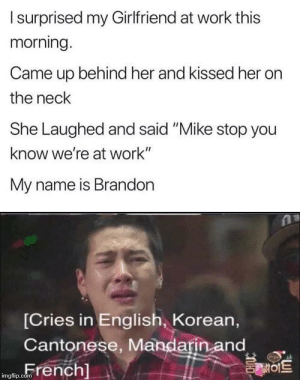 "F for Brandon by rabbitrampage MORE MEMES: Isurprised my Girlfriend at work this  morning.  Came up behind her and kissed her  the neck  She Laughed and said ""Mike stop you  know we're at work""  My name is Brandon  [Cries in English, Korean,  Cantonese, Mandarin and  French]  를이트  imgflip.com F for Brandon by rabbitrampage MORE MEMES"