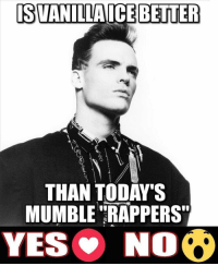 Friends, Memes, and Would You Rather: ISVANILLAICE BETTER  THAN TODAY'S  MUMBLE RAPPERS  YES NO What would you rather listen to⁉️ vanillaice or mumblerap ⁉️ Follow @bars for more ➡️ DM 5 FRIENDS