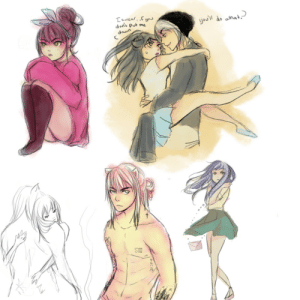 thatchickbooboo:  More Modern Inuyasha and Kagome sketch dumps.It's a bit of a mess.: Iswear, if yo  don't put me  you'll do what.)  dawn thatchickbooboo:  More Modern Inuyasha and Kagome sketch dumps.It's a bit of a mess.