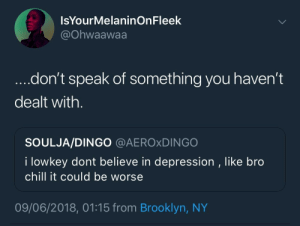 Chill, Brooklyn, and Depression: IsYourMelaninOnFleek  @Ohwaawaa  ....don't speak of something you haven't  dealt with.  SOULJA/DINGO @AEROxDINGO  I lowkey dont believe in depression , like bro  chill it could be worse  09/06/2018, 01:15 from Brooklyn, NY Reach out and support. Don't be a dick
