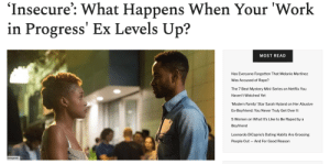 """It's probably best to start by saying I HATED Lawrence in the first season of Insecure.He was the sort of """"nice guy"""" that shouldn't get a free pass, but too often does. He was one of the few mainstream black characters that comes from a solidly middle-class background. The nerdy black guy that has nothing to do with gangs, drugs, or athletics that TV often pretends doesn't actually exist.But take that away and all that's left is an unemployed, unambitious man who totally took Issa for granted. It may have been a temporary state, but when we first met him, he was a total bum and there was no getting around it. It was definitely a big factor in the demise of their relationship and, even though it was wrong she cheated on him, it was the push they both needed to get out of a toxic dynamic.Read it Here: It's probably best to start by saying I HATED Lawrence in the first season of Insecure.He was the sort of """"nice guy"""" that shouldn't get a free pass, but too often does. He was one of the few mainstream black characters that comes from a solidly middle-class background. The nerdy black guy that has nothing to do with gangs, drugs, or athletics that TV often pretends doesn't actually exist.But take that away and all that's left is an unemployed, unambitious man who totally took Issa for granted. It may have been a temporary state, but when we first met him, he was a total bum and there was no getting around it. It was definitely a big factor in the demise of their relationship and, even though it was wrong she cheated on him, it was the push they both needed to get out of a toxic dynamic.Read it Here"""