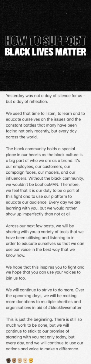 It's time to listen, to learn and to educate. There is still so much work to do be done and we are with you not only today, but every day. #blacklivesmatter ✊🏿✊🏾✊🏽✊🏼✊🏻✊ https://t.co/feioWttHfs: It's time to listen, to learn and to educate. There is still so much work to do be done and we are with you not only today, but every day. #blacklivesmatter ✊🏿✊🏾✊🏽✊🏼✊🏻✊ https://t.co/feioWttHfs