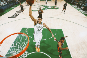 Game, Bucks, and Ast: IT  BUCK  34 Bucks take Game 1 of the ECF  Giannis: 24 PTS | 14 REB | 6 AST  Lopez: 29 PTS | 11 REB | 4 BLK