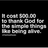 It Costed: It cost $00.00  to thank God for  the simple things  like being alive.  The ChristFanatic