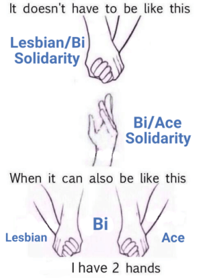 Be Like, Friends, and Lesbians: It doesn't have to be like this  Lesbian/Bi  Solidarity  Bi/Ace  Solidarity  When it can also be like this  Bi  Lesbian  Ace  I have 2 hands twocannon:  arokai: twocannon:   twocannon:  One solidarity doesn't invalidate the another. Solidarity is good and I love supporting my lesbian, bi, and ace friends! (Especially ace lesbians and bi aces 💕💖💕💖💕)  Please do not add negative comments to this post. If you disagree, either move on or make your own post.  Twas I that was the fool…   and im feeling queer women solidarity in this chili's tonight  How could I forget?