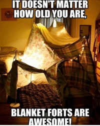 Twitter: BLB247 belikebro sarcasm Follow @be.like.bro: IT DOESNT MATTER  HOW OLD YOU ARE.  BLANKET FORTS ARE  AWESOME! Twitter: BLB247 belikebro sarcasm Follow @be.like.bro