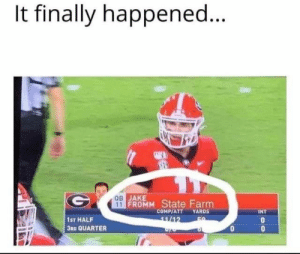 Reddit, State Farm, and Nice: It finally happened...  SEP  ов ЈАКE  11 FROMM State Farm  COMP/ATT YARDS  INT  1ST HALF  11/12  3RD QUARTER state farm is nice