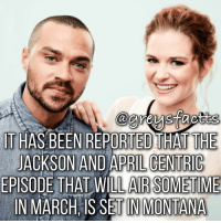 Memes, Montana, and April: IT HAS BEEN REPORTED HATTHE  JACKSON AND APRIL CENTRIC  EPISODE THAT WILL AIR SOMETIME  IN MARCH IS IN MONTANA Double Tap for Jackson & April! 💃🏻🍷 + Fact: It has been reported that the Jackson and April centric episode that will air sometime in March, is set in Montana! 💃🏻🍷 + - greysanatomy greys greysabc greysfacts jacksonavery aprilkepner montana