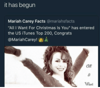 "it has begun: it has begun  Mariah Carey Facts @mariahsfacts  ""All I Want For Christmas Is You"" has entered  the US iTunes Top 200, Congrats  @MariahCarey!  9  Want"