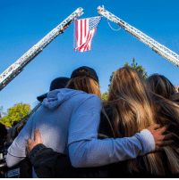 It has now emerged that a man who survived a mass shooting in Las Vegas last year was among those killed in the attack in Thousand Oaks, California. A military veteran killed 12 people in a crowded country music bar on Wednesday. Pictured here – friends hugging outside the Los Robles Medical Center in the town. Tap the link in our bio for more. PHOTO: APU GOMES-AFP-Getty Images california thousandoaks bbcnews: It has now emerged that a man who survived a mass shooting in Las Vegas last year was among those killed in the attack in Thousand Oaks, California. A military veteran killed 12 people in a crowded country music bar on Wednesday. Pictured here – friends hugging outside the Los Robles Medical Center in the town. Tap the link in our bio for more. PHOTO: APU GOMES-AFP-Getty Images california thousandoaks bbcnews