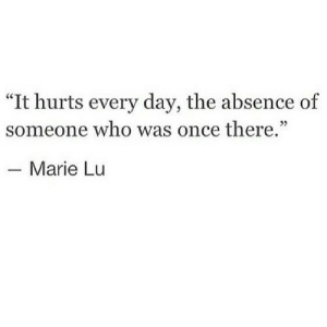 """Once, Who, and Day: """"It hurts every day, the absence of  someone who was once there.""""  40  - Marie Lu"""