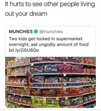 Lmao: It hurts to see other people living  out your dream  MUNCHIES @munchies  Two kids get locked in supermarket  overnight, eat ungodly amount of food  bit.ly/2i5U6Qo Lmao