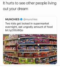 Fuck....: It hurts to see other people living  out your dream  MUNCHIES@munchies  Two kids get locked in supermarket  overnight, eat ungodly amount of food  bit.ly/2i5U6Qo Fuck....