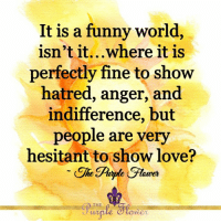 Funny, Love, and Memes: It is a funny world  isn't it...where it is  perfectly fine to show  hatred, anger, and  indifference, but  people are very  hesitant to show love?  THE <3