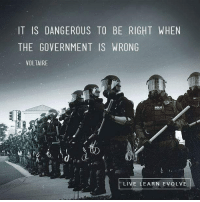 Voltaire: IT IS DANGEROUS TO BE RIGHT WHEN  THE GOVERNMENT IS WRONG  VOLTAIRE  POUC  LIVE LEARN EVOLV