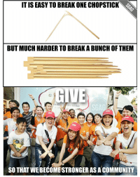 HAPPY GIVING WEEK!! Thumbs up to all the volunteers around Singapore giving their time, sweat and money!! Find out how you can give back at www.givingweek.sg. GivingWeekSG: IT IS EASY TO BREAK ONE CHOPSTICK  BUT MUCH HARDER TO BREAKABUNCH OF THEM  GIVE  SO THAT WEBECOME STRONGER AS A COMMUNITY HAPPY GIVING WEEK!! Thumbs up to all the volunteers around Singapore giving their time, sweat and money!! Find out how you can give back at www.givingweek.sg. GivingWeekSG