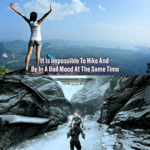 X post from Skyrim memes: It Is Impossible To Hike And  Be In A Bad Mood At The Same Time  Frost Troll X post from Skyrim memes