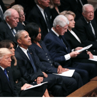 It is rare to see several former US presidents in the same room. But at the funeral of George HW Bush, America's 41st president, four generations of American presidents and their First Ladies sat side by side: Donald and Melania Trump, Barack and Michelle Obama, Bill and Hillary Clinton, and Jimmy and Rosalynn Carter. Bush's son and America's 43rd president George W Bush will give the eulogy. Tap the link in our bio 👆for live coverage of the funeral. bbcnews 41 bush41: It is rare to see several former US presidents in the same room. But at the funeral of George HW Bush, America's 41st president, four generations of American presidents and their First Ladies sat side by side: Donald and Melania Trump, Barack and Michelle Obama, Bill and Hillary Clinton, and Jimmy and Rosalynn Carter. Bush's son and America's 43rd president George W Bush will give the eulogy. Tap the link in our bio 👆for live coverage of the funeral. bbcnews 41 bush41