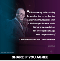 """Senator Chuck Schumer is on point. #Resist #ResistTrump #StopGorsuch: It is unseemly to be moving  forward so fast on confirming  a Supreme Court justice with  a lifetime appointment while  this big gray cloud of an  FBI investigation hangs  over the presidency.""""  Democratic Leader Sen. Chuck Schumer  CREDO  photo: Senate Democrats/Flickr  SHARE IF YOU AGREE Senator Chuck Schumer is on point. #Resist #ResistTrump #StopGorsuch"""