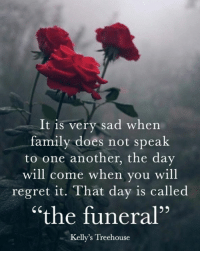 """Family, Memes, and Regret: It is very sad when  family does not speak  to one another, the day  will come when you will  regret it. That day is called  """"the funeral""""  Kelly's Treehouse"""