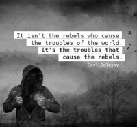 "Memes, Buddha, and Rebellious: It isn't the rebels who cause  the troubles of the world  troubles that  cause the rebels.  Carl Oglesby ""..To become a lion is difficult. You have to become it on your own, it is a decision. This risk has to be taken by the individual. That is a gamble. That is very dangerous too, because becoming a lion you will annoy the camels around you, and the camels are peace-loving animals, they are always ready to compromise. They don't want to be disturbed, they don't want any new thing to happen in the world, because new things disturb. They are against the revolutionaries and the rebellious, against Christ and Socrates and Buddha. Camels are afraid of even the smallest things. Why is Jesus crucified? Why is Mahavira not allowed to enter the cities? Why is Mansoor beheaded? These people disturb, they disturb the sleep of the camels, they go on roaring."""