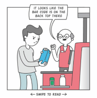 Give your self-checkout guy a hug: IT LOOKS LIKE THE  BAR CODE IS ON THE  BACK TOP THERE  ←SWIPE TO READ → Give your self-checkout guy a hug