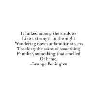 Streets, Home, and Down: It lurked among the shadows  Like a stranger in the night  Wandering down unfamiliar streets  Tracking the scent of something  Familiar, something that smelled  Of home.  Grunge Penington