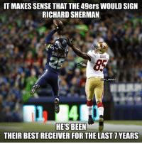 It's only right... https://t.co/GJCs1tGrxX: IT MAKES SENSE THAT THE 49ers WOULD SIGN  RICHARD SHERMAN  SHEN  DAVIS  @NFL MEMES  Th 174[を  HE'S BEEN  THEIR BEST RECEIVER FOR THE LAST 7YEARS It's only right... https://t.co/GJCs1tGrxX