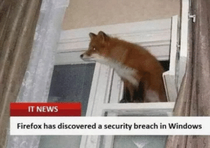 Meanwhile, in the Stone Age of memes:: IT NEWS  Firefox has discovered a security breach in Windows Meanwhile, in the Stone Age of memes: