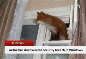 Cheeky foxy: IT NEWS  Firefox has discovered a security breach in Windows Cheeky foxy