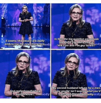 """💙 carriefisher starwars finn poe stormpilot princessleia gaydar: It seems like people are really.  embracing the new characters.  And really how the fuck  would know? Anne  In fact the big question people ask  me about Star Wars now is  """"Are Finn and Poe gay lovers?""""  ay  My second husband left me for a man,  so my gaydar isn't exactly what you'd  caDDeath level quality.  edy 💙 carriefisher starwars finn poe stormpilot princessleia gaydar"""