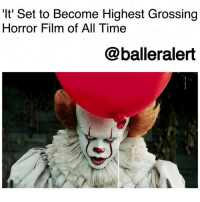 'It' Set to Become Highest Grossing Horror Film of All Time-blogged by @thereal__bee ⠀⠀⠀⠀⠀⠀⠀⠀⠀ ⠀⠀ After making waves as the largest September movie release, 'It' is now on its way to breaking another record. ⠀⠀⠀⠀⠀⠀⠀⠀⠀ ⠀⠀ Deadline reports that 'It' is close to becoming the highest grossing horror film of all time. The movie is expected to earn the title after it surpasses 1973's 'The Exorcist' $232.9 million gross. ⠀⠀⠀⠀⠀⠀⠀⠀⠀ ⠀⠀ As of now the film's gross is hovering around $228 million, not including today's numbers. What's even more incredible is that the Stephen King adaptation is already close to $400 million worldwide after only having a $35 million production budget. ⠀⠀⠀⠀⠀⠀⠀⠀⠀ ⠀⠀ Although New Line Cinema has not yet announced the sequel to the successful film, reports say the script for part two is already in the works. ⠀⠀⠀⠀⠀⠀⠀⠀⠀ ⠀⠀ Earlier this month reports surfaced confirming that Gary Dauberman, co-writer of the first film, will be returning for the sequel alongside director Andrés Muschietti.: 'It' Set to Become Highest Grossing  Horror Film of All Time  @balleralert 'It' Set to Become Highest Grossing Horror Film of All Time-blogged by @thereal__bee ⠀⠀⠀⠀⠀⠀⠀⠀⠀ ⠀⠀ After making waves as the largest September movie release, 'It' is now on its way to breaking another record. ⠀⠀⠀⠀⠀⠀⠀⠀⠀ ⠀⠀ Deadline reports that 'It' is close to becoming the highest grossing horror film of all time. The movie is expected to earn the title after it surpasses 1973's 'The Exorcist' $232.9 million gross. ⠀⠀⠀⠀⠀⠀⠀⠀⠀ ⠀⠀ As of now the film's gross is hovering around $228 million, not including today's numbers. What's even more incredible is that the Stephen King adaptation is already close to $400 million worldwide after only having a $35 million production budget. ⠀⠀⠀⠀⠀⠀⠀⠀⠀ ⠀⠀ Although New Line Cinema has not yet announced the sequel to the successful film, reports say the script for part two is already in the works. ⠀⠀⠀⠀⠀⠀⠀⠀⠀ ⠀⠀ Earlier this month reports surfaced confirming that Gary Dauberman, co-writer of the first film, will be returning for the sequel alongside director Andrés Muschietti.