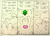 starship-one: original comic by soup-erb: IT SHo) AND THE CuBTuR  TELL CHILDREN, ITE CUBE  WHAT DID You  MTRE CUBfy  TE starship-one: original comic by soup-erb