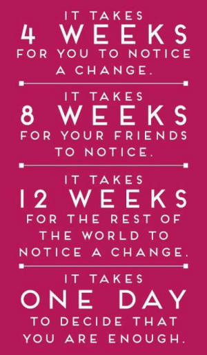 That You Are: IT TAKES  4 WEEKS  FOR YOU TO NOTICE  A CHANGE  IT TAKES  8 WEEKS  FOR YOUR FRIENDS  TO NOTICE  IT TAKES  12 WEEKS  FOR THE REST OF  THE WORLD TO  NOTICE A CHANGE  IT TAKES  ONE DAY  TO DECIDE THAT  YOU ARE ENOUG H