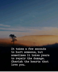 Love, Hearts, and You: It takes a few seconds  to hurt someone, but  sometimes it takes years  to repair the damage.  Cherish the hearts that  love you