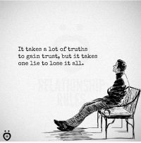 trust: It takes a lot of truths  to gain trust, but it takes  one lie to lose it all.