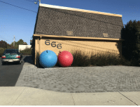 It takes huge balls to live at this address: It takes huge balls to live at this address