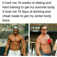Dieting, Drinking, and Gym: It took me 16 weeks of dieting and  hard training to get my summer body.  It took me 16 days of drinking and  cheat meals to get my winter body  back  16 weeks  16 days  later Dammit, that's not fair 😐